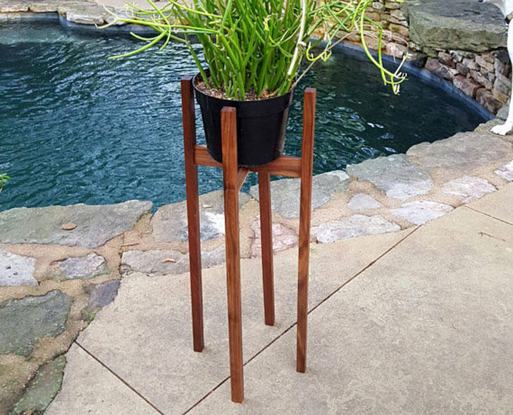 Tall Mid Century Indoor Plant Stand