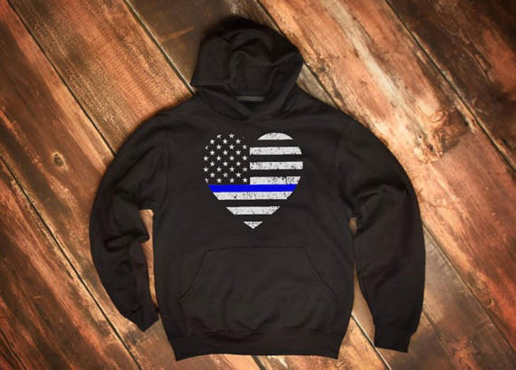 Thin Blue Line Heart Flag Hoodie - gifts for police officers