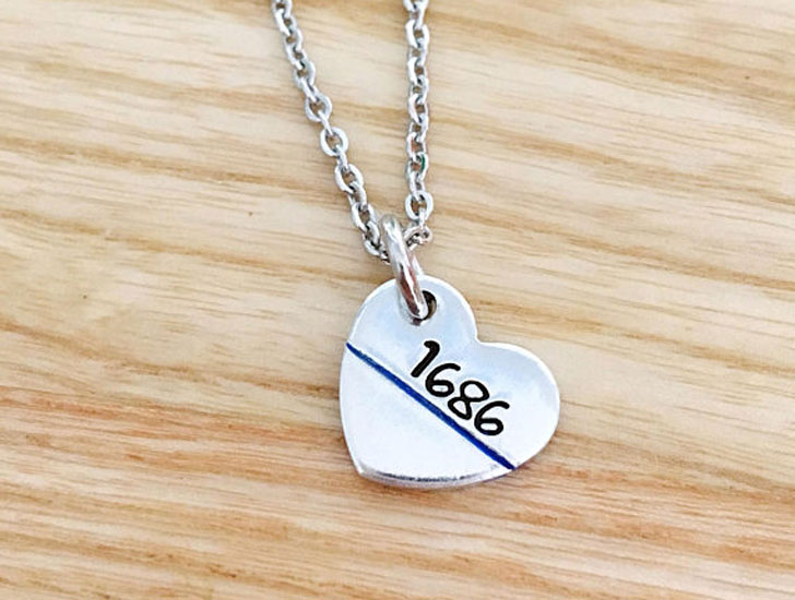 Thin Blue Line Heart Necklace