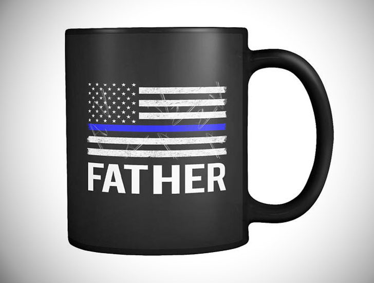 Thin Blue Line Police Officer Father Mug - gifts for police officers