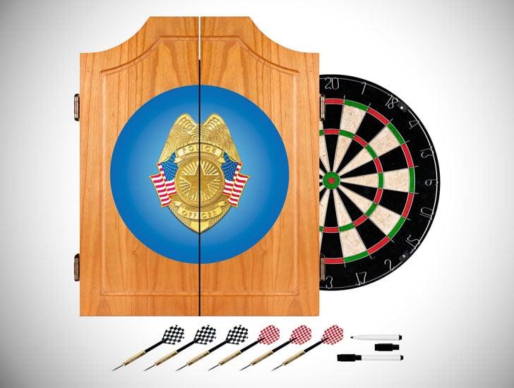 Trademark Global Police Officer Wood Dart Cabinet Set