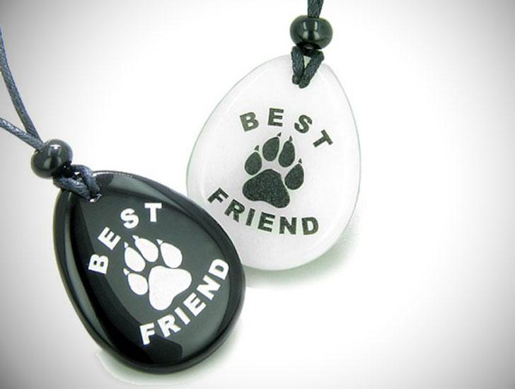 Wolf Paw White Quartz and Black Agate Friendship Pendant Necklaces