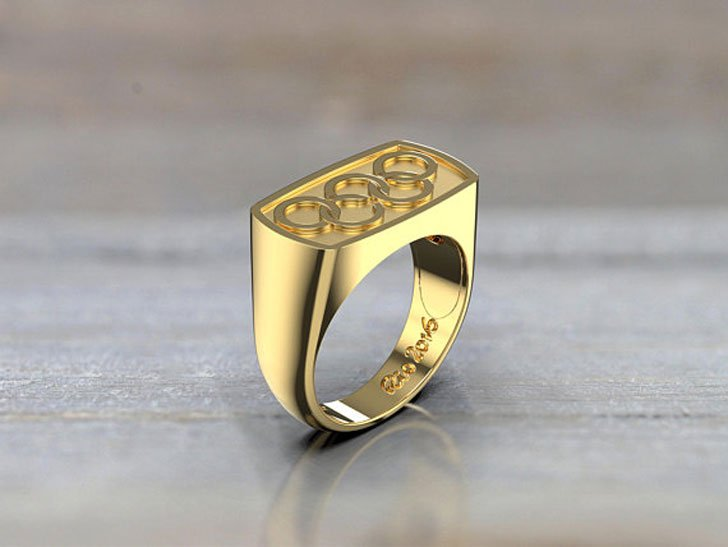 14k Yellow Gold Olympic Signet Ring - Signet Rings for Men
