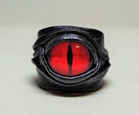 Adjustable Leather Dragon Eye Rings
