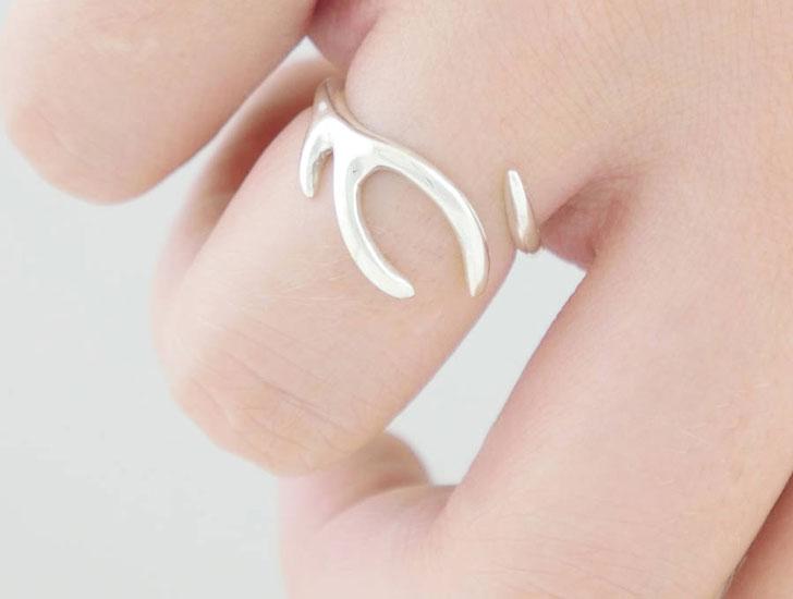 Adjustable Sterling Silver Antler Ring