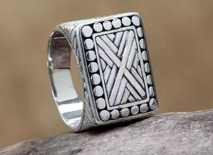 Ancient Fortress Handcrafted Sterling Silver Signet Ring - Signet Rings for Men