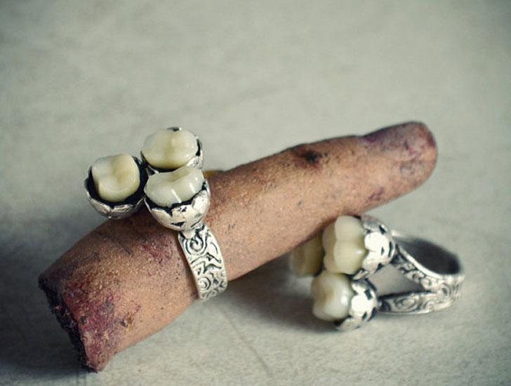 Antiqued Victorian Teeth Rings - unusual rings