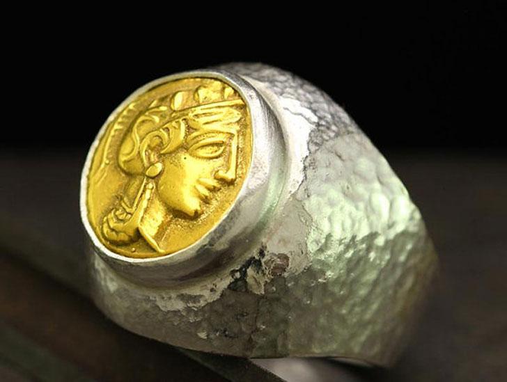 Athena Coin Signet Ring