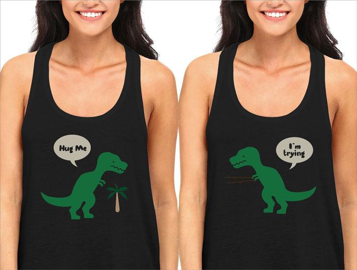 BFF T-Rex Hug Me Best Friend Tank Top Shirts