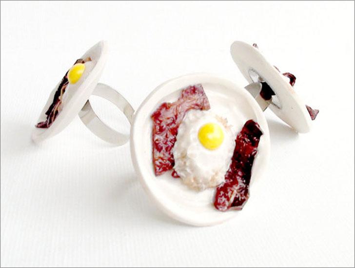 Bacon & Eggs Breakfast Ring - unusual rings