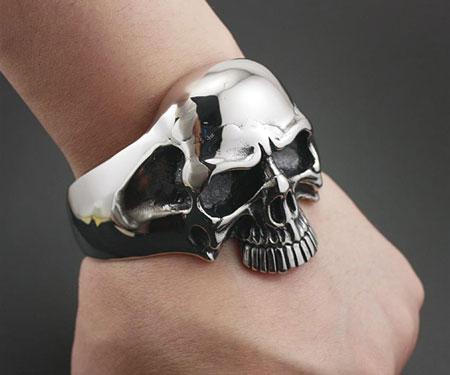 Bikers Chainlink Skull Bracelet