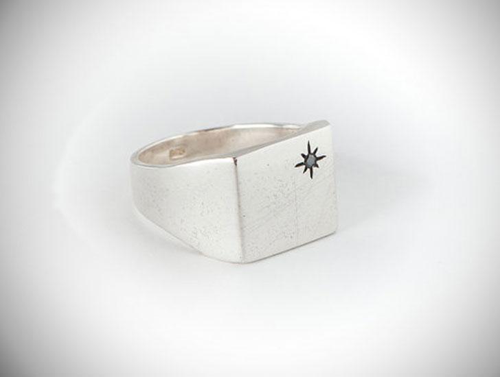 Black Diamond Silver Signet Ring