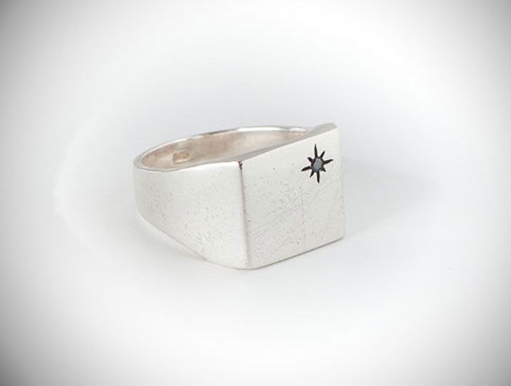 Black Diamond Silver Signet Ring