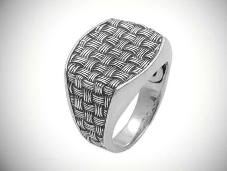 Bold Wicker 925 Sterling Silver Signet Ring