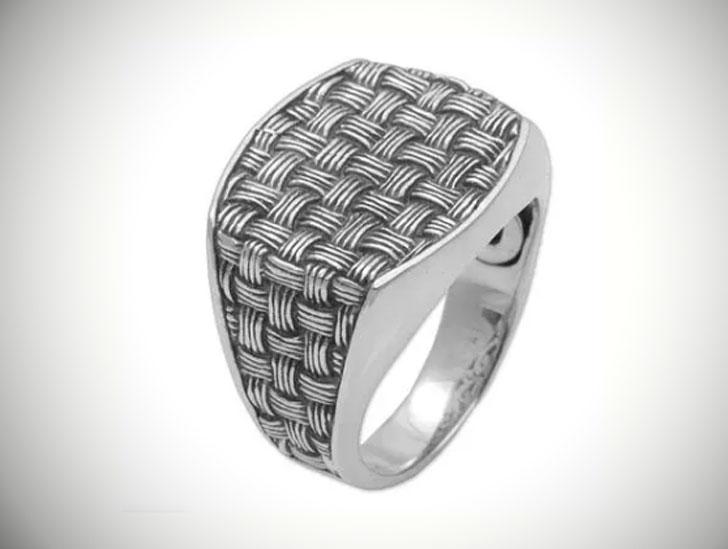 Bold Wicker 925 Sterling Silver Signet Ring