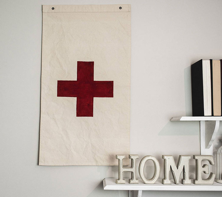 Cotton Flag Red Cross Wall Hanging