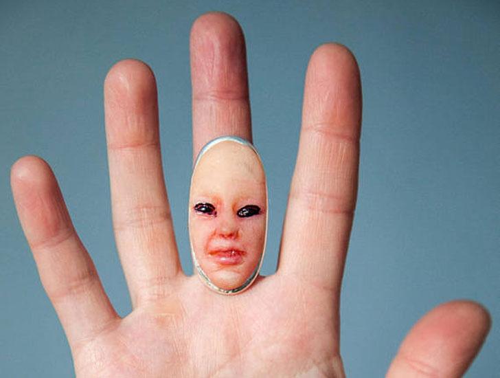 Creepy Baby Face Ring - unusual rings