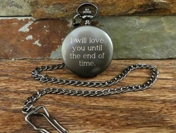 Custom Engraved Gunmetal Pocket Watch - Sentimental Gifts For Best Friends