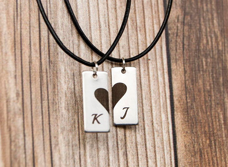Custom Initial His and Hers Heart Necklace