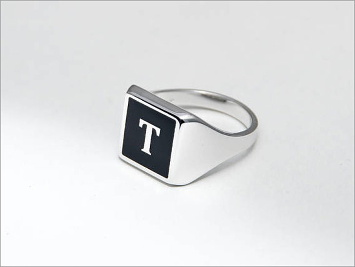 Custom Letter Signet Ring - Signet Rings for Men