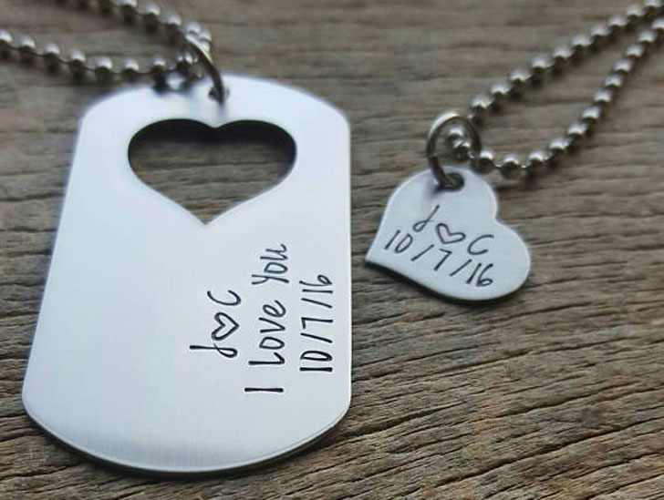 Customizable Couples Dog Tag with Heart Cutout Necklace Set
