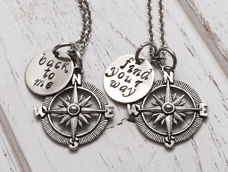 Customized Couples Compass Necklaces