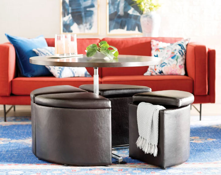 Dempsey Gas Lift Coffee Table with Ottomans - lift-top coffee tables