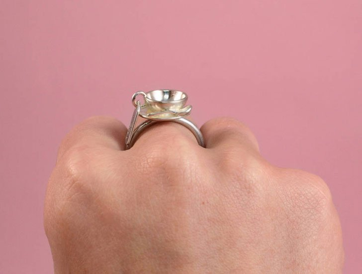 Drink Me Silver Tea Cup Ring