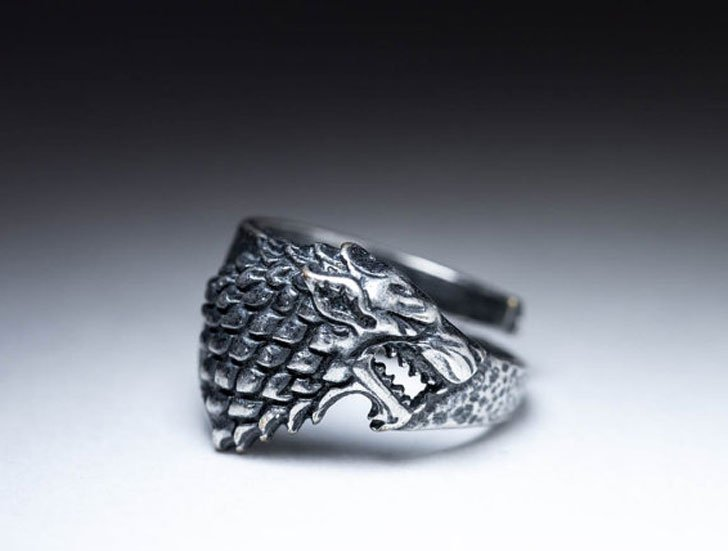 Game of Thrones House Stark Direwolf Wolf Ring