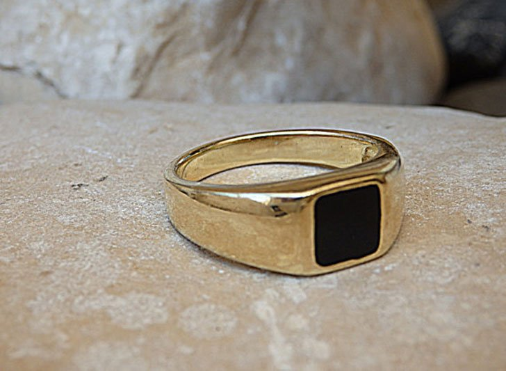 Gold Filled Square Onyx Signet Ring