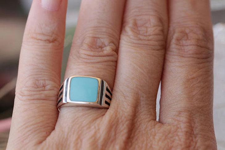 Handmade Enamel Signet Ring - Signet Rings for Men