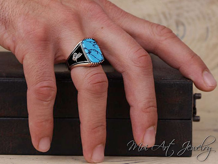 Handmade Engraved Turquoise Stone on Sterling Silver Signet Ring