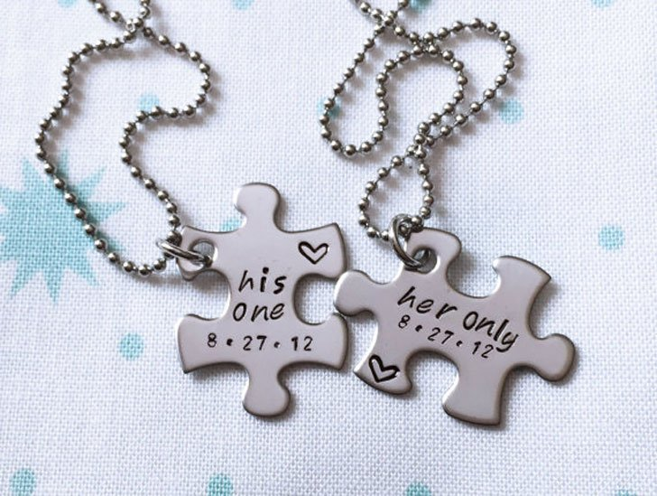 Her One His Only Jigsaw Puzzle Necklace Set
