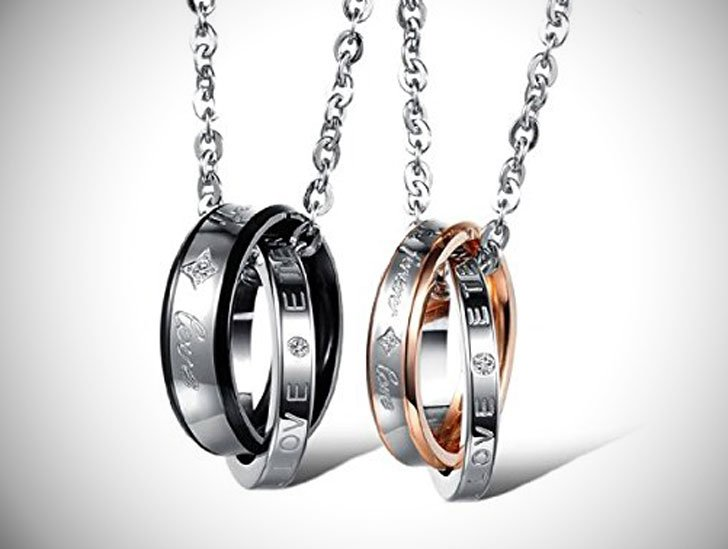 His & Hers Matching Interlocking Ring Necklaces