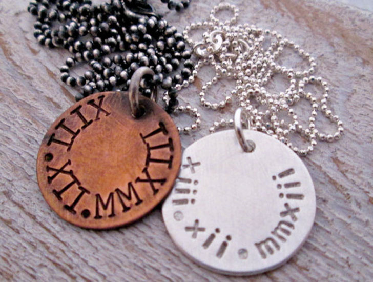 His and Hers Custom Roman Numerals Necklace