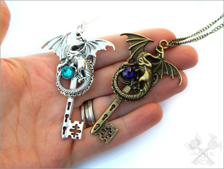 His and Hers Dragon Lovers Necklace Set