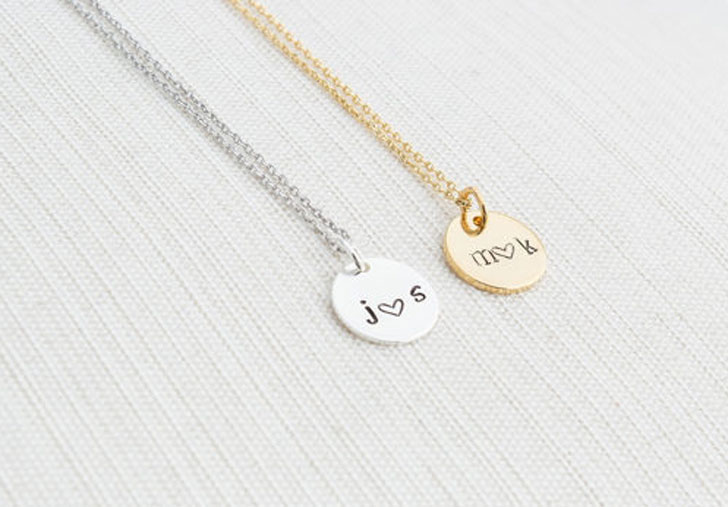 His and Hers Initials Disc Necklaces