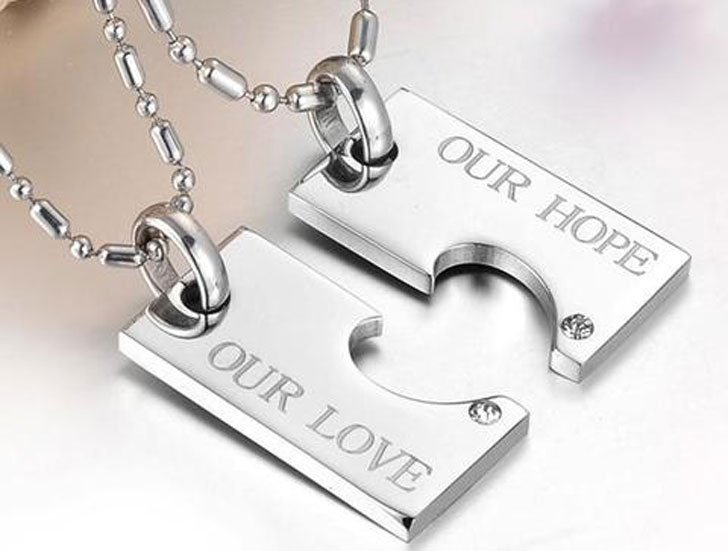 His and Hers Matching Love Promise Pendant Necklaces