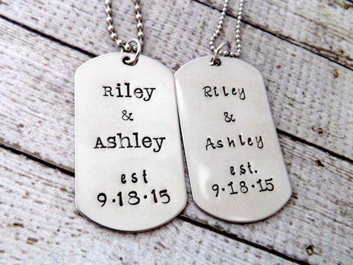 His and Hers Personalized Dog Tag Necklaces