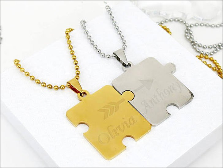 His and Hers Personalized Puzzle Piece Necklaces