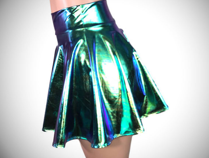Holographic High Waisted Mini Circle Skirt