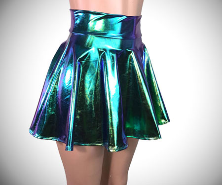 Holographic High Waisted Mini Circle Skirt