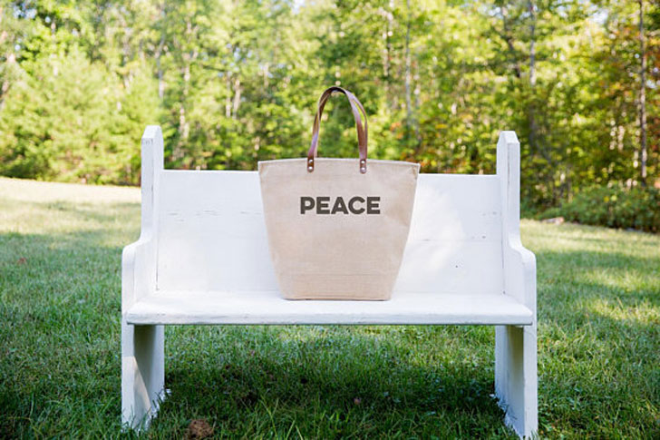 Inspirational Burlap / Tote Bags With Leather Handles
