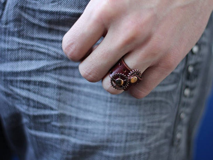 Leather Wrap Steampunk Ring - unusual rings