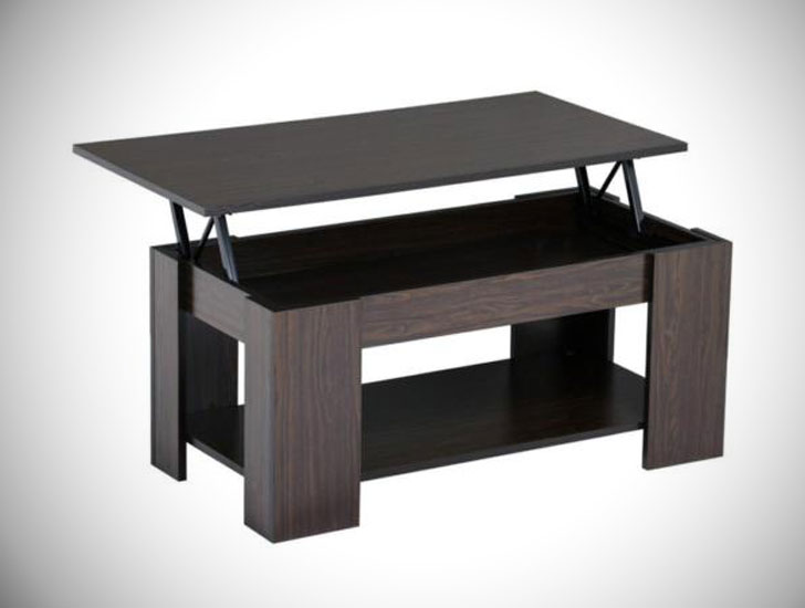 Lift Top Coffee Table Storage Shelf w/ Hidden Compartment