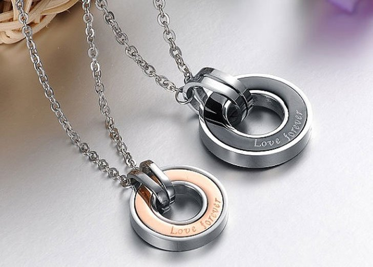 Love You Forever Girlfriend and Boyfriend Necklaces