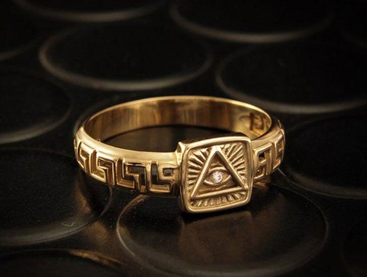 Masonic Diamond Signet Ring