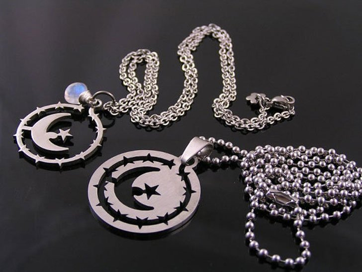 Matching Couples Crescent Moon Necklace Set