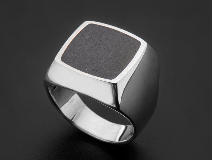 Mens Architectural Concrete Signet Ring - Signet Rings for Men