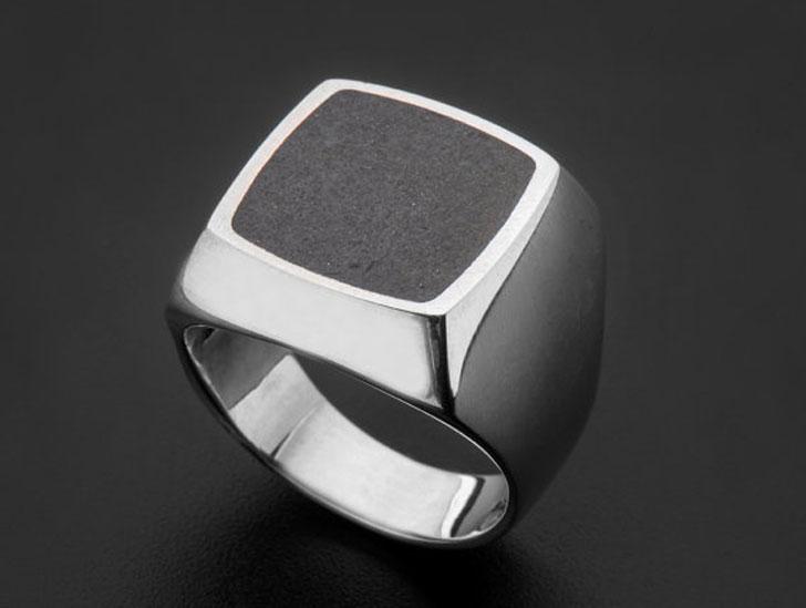 Mens Architectural Concrete Signet Ring - Signet Rings for Men